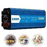 Inversor de onda sinusoidal pura 500W / 1000W / 1500W / 2000W / 2500W, convertidor de potencia 12V / 24V a 110V / 220V / 230V inversor con 2 enchufes universales para automóvil, camping, viajes, 1500W