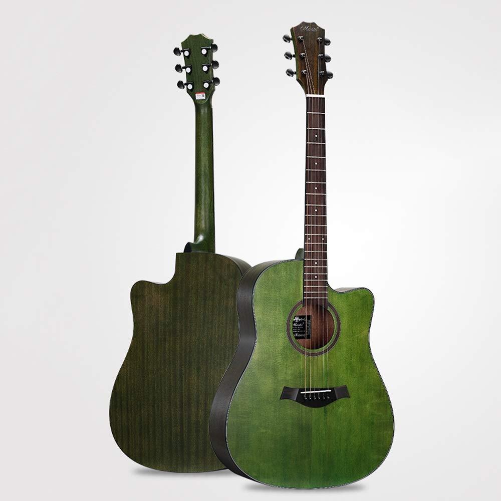 Miiliedy Chapa minimalista Guitarra acústica Principiante Autodidacta Chicos Chicas 41 pulgadas Guitarra acústica de estudiante adulto con estuche de guitarra Conjunto de correas (Color : Green): Amazon.es: Instrumentos musicales