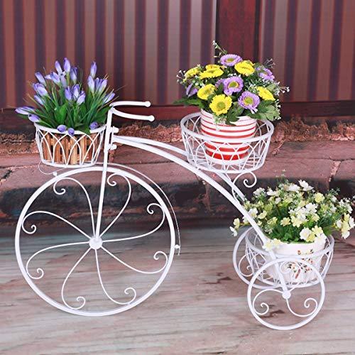 3 Tiered Pflanze Blumentopf Stehen Moderne Dekorative Garten Terrasse Kleine FahrradstäNder HäLt 3 Blumentopf,White