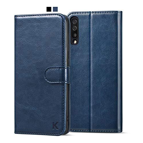KILINO Samsung Galaxy A70 Handyhülle [Schützt vor Stößen][RFID Blocker][Standfunktion][Kartenfach] Leder Hülle Handytasche kompatibel mit Samsung Galaxy A70 (Blau