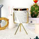 Keyzone Macetero con soporte de metal de mármol y cerámica, soporte para plantas suculentas, cactus, estilo nórdico, para casa, jardín, oficina, 1 unidad (Gold-L)