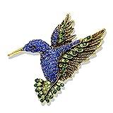 U/N Llegada de Color Azul Marino, broches de colibrí con Diamantes de imitación para Mujer, alfileres de Animales de Moda Vintage, Regalo
