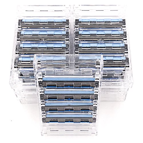 40 Taconic Shave Triple Blade Cartridges (10 x 4) , Compatible with all Gillette Sensor, Sensor 2, Sensor Excel, Sensor 3 and Personna Triflexx Razor Handles, Made in the USA