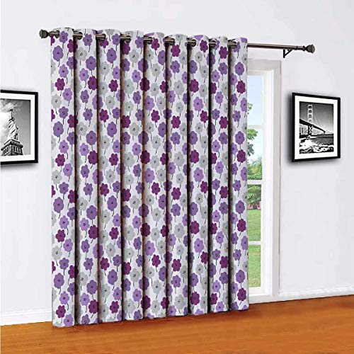 Toopeek - Partición de cortina de pared con aislamiento de flores, cortinas correderas (panel individual) de 100 x 84 pulgadas de largo