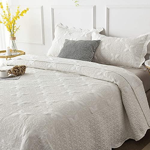Brandream Romantisches cremeweißes Bettwäsche-Set für Queen-Size-Bett, Stickerei, Vintage-Tagesdecken-Set