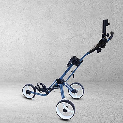 Plegable Carro de Golf, con Altura Ajustable de 3 Ruedas Push Pull Carrito Carro, 360 ° Giro Carro para el Recorrido del Deporte al Aire Libre, fácil de almacenar y Transportar
