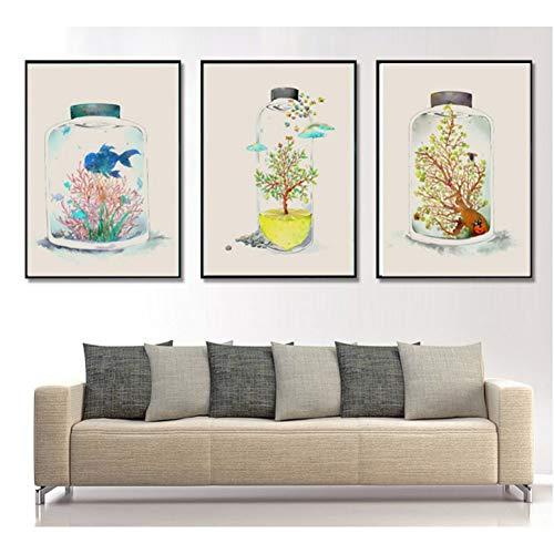 RHBNVR HD-print canvas schilderij kleine frisse fles in de wereld 3 stuks decoratief schilderij modulaire afbeelding muurkunst canvas schilderij voor de woonkamer