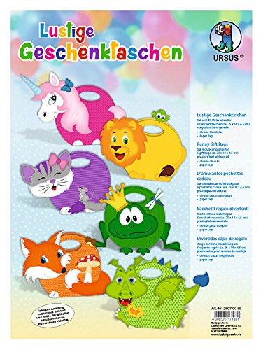 Ursus 28070099 - Geschenktaschen in Tiermotiven, 6 verschiedene Motive, ca. 17 x 24 x 4,8 cm