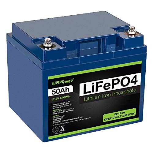 ExpertPower 12V 50Ah Lithium LiFePO4 Deep Cycle Rechargeable Battery   2500-7000 Life Cycles & 10-Year lifetime   Built-in BMS   Perfect for RV, Solar, Marine, Overland, Off-Grid Applications