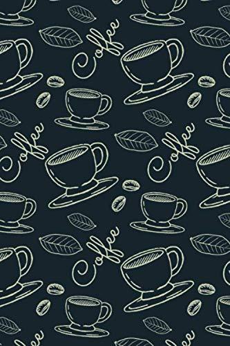 Kaffee Notizbuch mit schönem Kaffeemuster: kariert im 6x9 Format / DIN A5, im dekorativen Kaffee Design mit Kaffeetasse, Kaffeepflanze, Kaffeebohnen und Coffee Schriftzug.