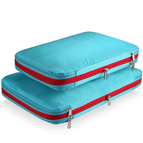 DIMJ 圧縮バッグ 2点セット 便利旅行圧縮バッグ 衣類圧縮バッグ トラべラブ圧縮バッグ ファスナー圧縮で衣類スペース50%節約 収納バッグ 衣類仕分け 軽量 出張 旅行 便利グッズ (ブルー)