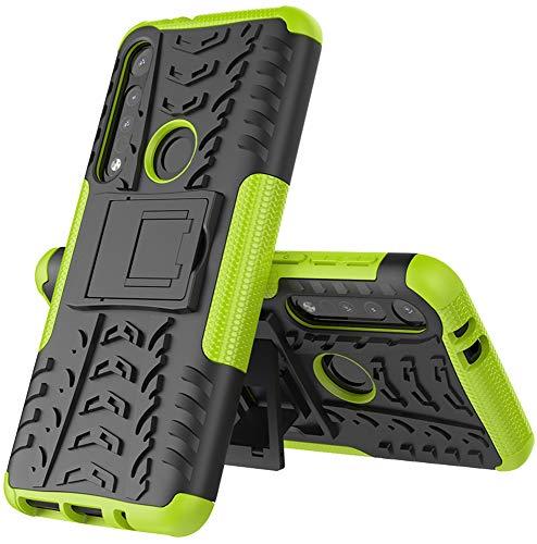 Yiakeng Cover Moto G8 Play/Motorola One Macro, Antiurto Protezione Silicone con Kickstand Rugged Custodia per Cover Moto G8 Play/Moto One Macro (Verde)