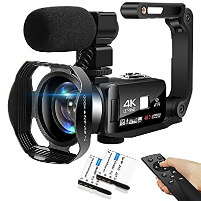 4K Camcorder 48MP 18X Digital Camera WiFi IR Night Vision Video Camera for YouTube 3.0inch HD Touch Screen Vlogging Camera with External Microphone, Stabilizer and Remote Control by SEREE