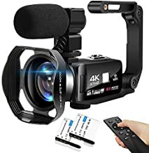 4K Camcorder 48MP 18X Digital Camera WiFi IR Night Vision Video Camera for YouTube 3.0inch HD Touch Screen Vlogging Camera with External Microphone, Stabilizer and Remote Control