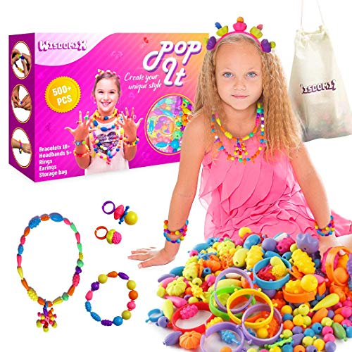 Pop It Snap Pop Beads Set – 500Pcs+ DIY Jewelry Making Kit – Art & Craft Learning Toys with 5+ Headbands, 10+ Bracelets, 20+ Rings & Earrings - Educational Gifts Toys for 3,4,5,6,7,8 Years Old Girls