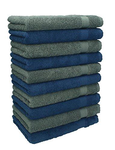 Betz Lot de 10 Serviettes débarbouillettes lavettes Taille 30x30 cm en 100% Coton Premium Couleur Bleu foncé et Gris Anthracite