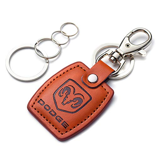UUUU Car Keychain Accessories with Brown Genuine Leather Suit for Dodge Challenger Dakota Charger Ram 1500 Durango Caravan Series Present for Women and Men (Brown for Dodge 1 Pcs)