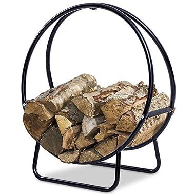 Goplus Firewood Log Hoop Tubular Steel Wood Storage Rack Holder Curved Display for Indoor & Outdoor (24-Inch)