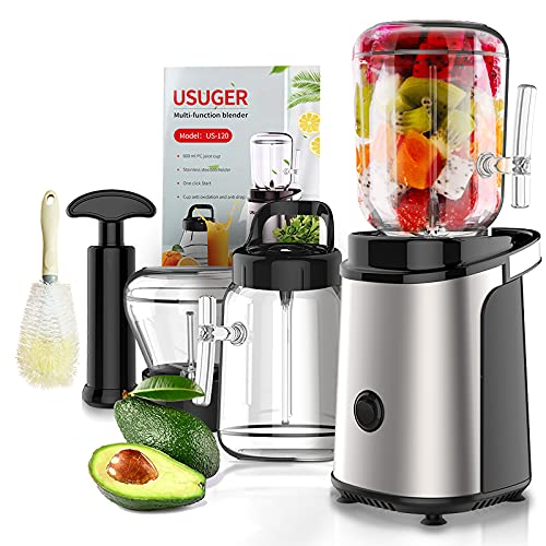 Juicer, Juicer Machine Vegetable and Fruit Juicer Extractor with Grinding Cup, Small Electric Juicer, Stainless Steel Juicer Maker Portable Blender with Recipe for Shake and Smoothie, Plus Brush