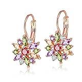 YAZILIND élégant accessoires rose plaqué or fleur fleur zircon hypoallergénique Crochet boucles d'oreilles pour les...