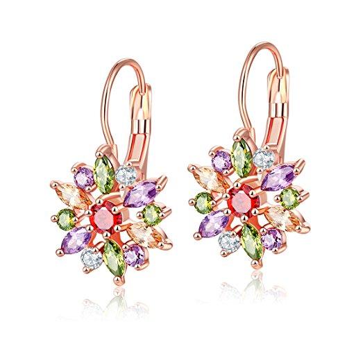YAZILIND aro pendientes rosa oro plateado color flor forma cúbica Zirconia Stud oreja joyería para las mujeres niñas