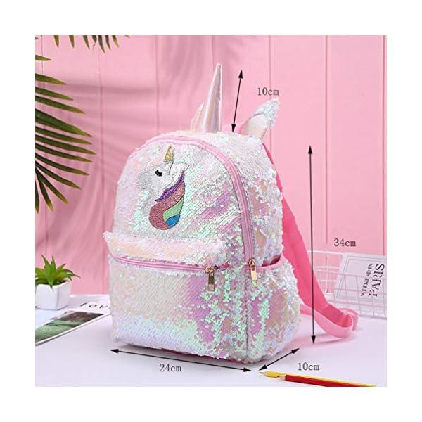 VALICLUD Mochila Reversible de Unicornio con Lentejuelas para Niña Y Mujer Mochila Escolar de Gran Tamaño con Purpurina…