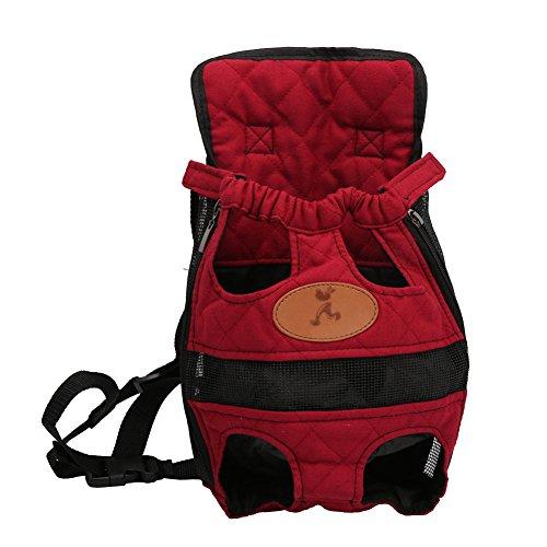 Yimidear Portador de Perro y Gato Portátil Al Aire Libre Mochila de Viaje Bolsa del Pecho para Mascotas (M, Rojo)