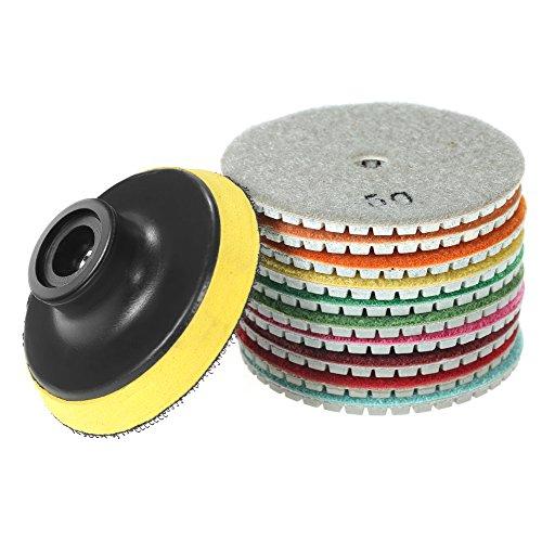 Diamante almohadillas de pulido al agua 10pcs,Roeam Pulidoras de Diamante húmedas M10/M14 para concreto baldosa cerámica piedra mármol granito