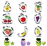 Nuyoah Cortador de Galletas Moldes de Galletas Cortapastas Infantiles Acero Inoxidable Set 12pcs Cortadores de Galletas Frutas y Corazón Estrella Forma, Para Galletas de Fondant Para Hornear (Silber1)