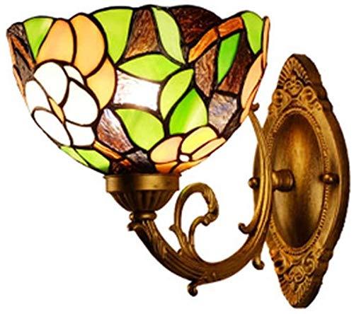 Lámpara de pared Retro Aplique, 8 'Tiffany Style Up Wall Sconte Manchado de vidrio de hojas de pared Lámpara de pared para Dormitorio Decoración de noche Decoración del hotel Corredor TV Balcón Lámpar