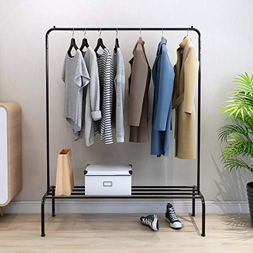 HOJINLINERO Garment Rack for Hanging Clothes Free-Standing Clothes Rack with Top RodBottom Shelves and 2 HooksBlack