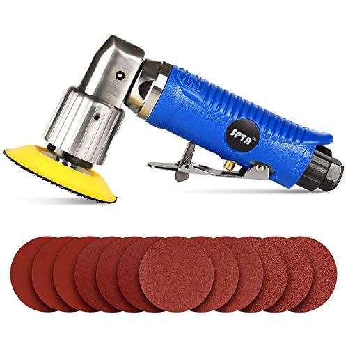 SPTA Mini poliermaschine, Druckluft Polierer, Pneumatische Polierer, 80mm Exzenter Schleifer Winkelschleifer mit 12tlg 80mm Schleifteller Klett-Schleifpapier Kit für Auto, Möbeln, Metall -HRAPS3SET