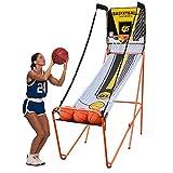 HYDT Juego de Baloncesto Juego de Arcade de Baloncesto con Tiro de Aro Electrónico Único, Sistema de Disparos de Diversión para Deportes de Ejercicio Portátil Plegable con 3 Bolas