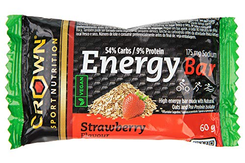 Crown Sport Nutrition Energy Vegan Bar, High Energy bar Cycling, Running Made with Natural Oats and Pea Protein Isolate, 233 Kcal Per Serving, Strawberry Flavour, 60 g