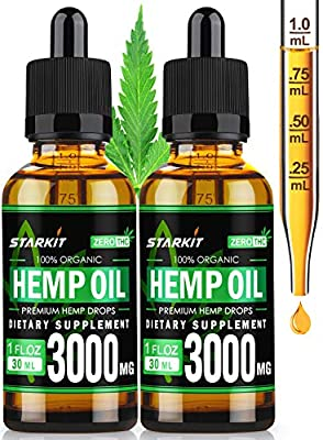 2x30ml - Hemp Oil Extract 3000mg Natural for Pain Anxiety & Stress Relief, Better Sleep & Mood, Organic Supercritical CO2 Extraction Sufficient Effect Strength Drops from STARKIT