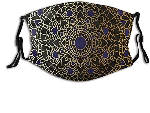 KINGAM Máscara cómoda a prueba de viento, grande y detallada, diseño de mandala vintage inspirado en loto y étnico, decoración facial impresa para mujeres y hombres adultos