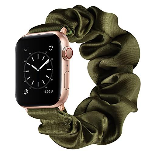 AdirMi Compatible con Apple Watch Series 1 2 3 4 5 6 SE Scrunchie Band, bandas elásticas de color sólido para reloj Apple Watch 38/40 mm 42/44 mm, verde, 38/40 mm (S)