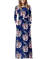 DEARCASE Women's A-line Swing Maxi Dresses Long Sleeve Long Casual Dresses Flower Navy Blue Large