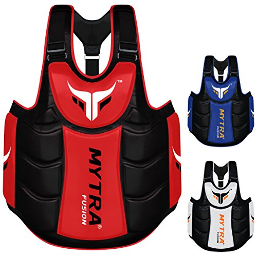 Mytra Fusion Chest & Belly Protector Body Shield Body Armor Body Pad Body Protector Chest Ribs and Belly Protector for Boxing MMA Muay Thai Fitness Gym Workout (Red Black)