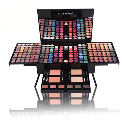 Pure Vie 190 Colors All in one Makeup Gift Set Holiday Cosmetics Bundle including 180 Shiny and Matte Eyeshadow Palette, 2 Compact Powder, 2 Blusher, 1 Eyeliner Pencil, 6 Sponge brush, 6 Eyebrow Cream