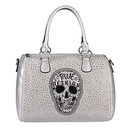 OBC Damen Totenkopf Skulls Tasche Strasssteine Glitzer Bowling Handtasche Shopper XL Beuteltasche Schultertasche Metallic Umhängetache Leder Optik (Silber 36x28x14)