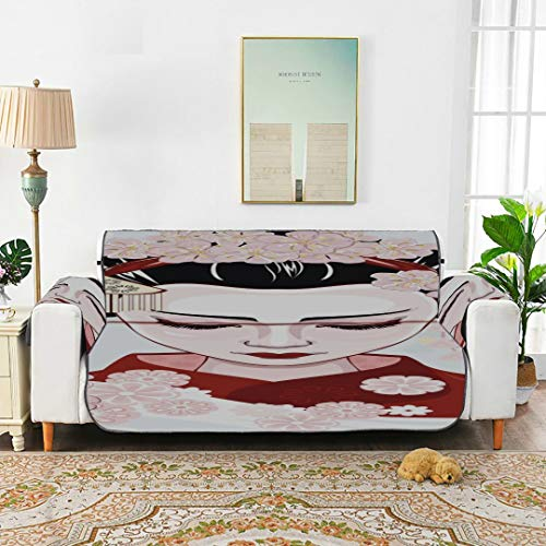 WDDHOME Cute Cartoon Geisha With Japan Travel Sofa Bench Cushion Tewene Couch Cover Sofa Cover Lounge Chair Slipcover 66'(168cm) For 3 Seat Machine Wash Arm Chair Cover