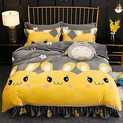 Coral Vaughan Dicker vierteiliger Anzug aus Nerzsamt, superweicher, luxuriöser Teddy-Bettbezug, pflegeleicht, superweiche und Bequeme Bettwäsche, Doppelbett-Dunkelbraun_1,5 m