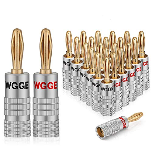 WGGE WG-009 Banana Plugs Audio Jack Connector 12 Pairs / 24 pcs, 24k Gold Dual Screw Lock Speaker Connector for Speaker Wire, Wall Plate, Home Theater, Audio/Video Receiver and Sound Systems