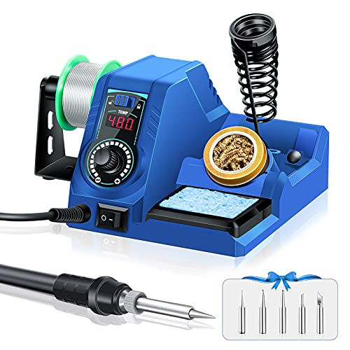 Soldering Station – 60W Soldering Iron Station Kit 90°C-480°C Adjustable Temperature, LED Display, 10 Minutes Sleep Function, Temperature Lock, 5 Extra Solder Tips & 1 Solder Wire Blue