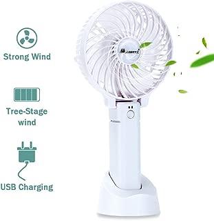 Mensent Mini Handheld Fan Portable Foldable USB Fan Cooling Folding Fan Battery Driven Electric Fan Personal Desktop Cooling Fan, 3 Speed for Office, Outdoor, Home (White)