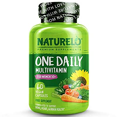 NATURELO One Daily Multivitamin for Women 50+ (Iron Free) - with Natural Vitamins with Fruit Extracts - Best for Maintaining Essential Nutrients Without Iron - 60 Vegan Capsules   2 Month Supply