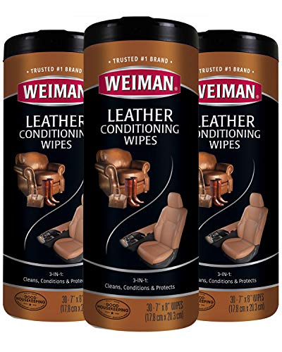 Weiman Leather Wipes - 3 Pack - Clean, Condition, Ultra Violet Protection Help Prevent Cracking or Fading of Leather Furniture, Car Seats and Interior, Shoes