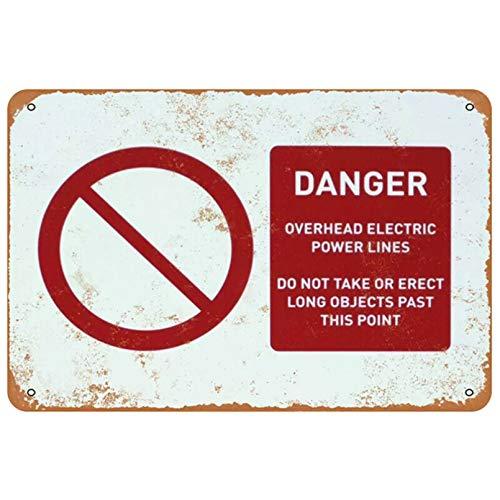 Cartel de chapa de metal peligro líneas eléctricas aéreas decoración hogar vintage-20x30cm