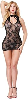 Ausexy Womens Transparent Mesh Bodystockings Bodycon Sexy See Though Underwear Dress Sleepwear Floral Bodysuit Lingerie